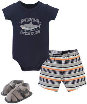 Hudson Baby Navy Shark Bodysuit Set - Newborn & Infant