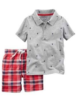 Carter's Infant Boys 2-Piece Gray Polo Shirt & Red Plaid Shorts Set
