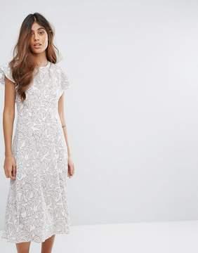 Goldie Frill Detail Midi Dress