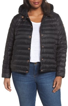Bernardo Plus Size Women's Water Resistant Insulated Hooded Bomber Jacket