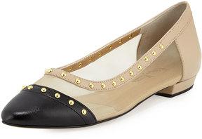 Neiman Marcus Gertrud Studded Leather & Mesh Flat, Beige/Pudding/Black