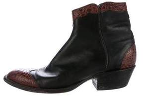 Lucchese Crocodile Ankle Boots