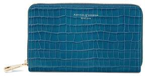 Aspinal of London Midi Continental Clutch Zip Wallet In Deep Shine Topaz Small Croc