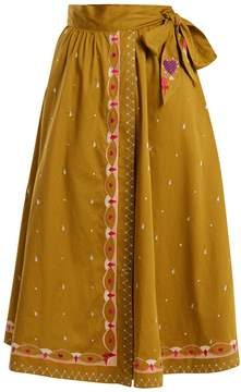 Temperley London Divine border-embroidered cotton wrap skirt
