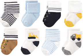 Luvable Friends Blue Bulldozer Eight-Pair Sock Set - Infant & Kids