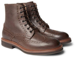Brunello Cucinelli Full-Grain Leather Wingtip Brogue Boots