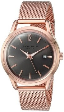 Akribos XXIV Ador Grey Dial Ladies Rose Gold Mesh Watch