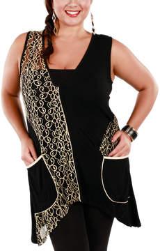 Lily Beige & Black Filigree-Lace Sleeveless Tunic - Plus