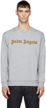 Palm Angels Grey Embroidered Logo Bullion Sweatshirt