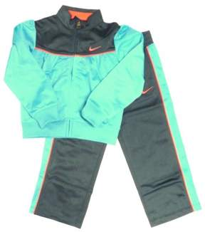 Nike Toddler Girls Teal & Gray Ruched Jacket & Pants Set Tricot Track Suit 3T