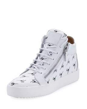 Giuseppe Zanotti Men's Mid-Top Logo-Embossed Platform Sneakers, White/Black