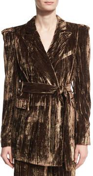 Co Long Metallic Crinkle-Velvet Blazer, Brown