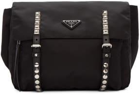 Prada Black Large Studded Belt Bag