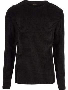 River Island Mens Dark grey muscle fit ribbed sweater