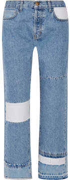 Current/Elliott The Diy Patchwork High-rise Straight-leg Jeans - Blue