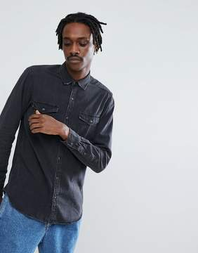 Pull&Bear Regular Fit Denim Shirt In Washed Black