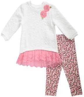 Youngland Baby Girl Lace Sweater Dress & Leggings Set
