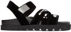 Giuseppe Zanotti Black Velvet Rimba Sandals