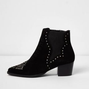 River Island Womens Black studded western boots