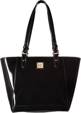 Dooney & Bourke Patent Janie Tote Tote Handbags - BLACK/BLACK TRIM - STYLE