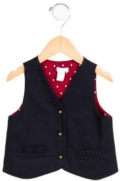 Jacadi Girls' Bow-Accented Button-Up Vest