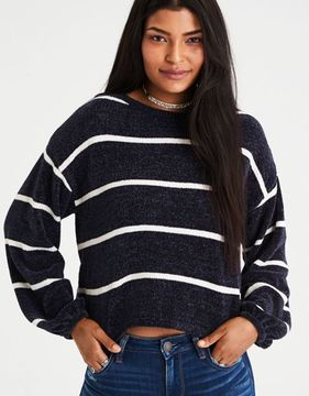 American Eagle Outfitters AE Chenille Balloon-Sleeve Sweater