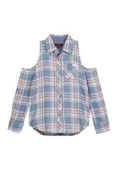 7 For All Mankind Cold-Shoulder Flannel Top (Big Girls)