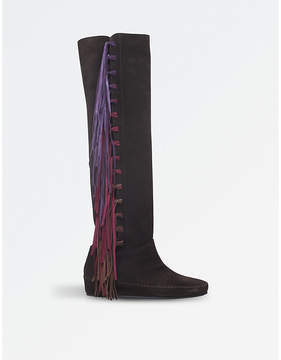 Etro Fringe over-the-knee suede boots