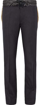 Dries Van Noten Prescott Satin And Grosgrain-Trimmed Pinstriped Wool-Twill Trousers