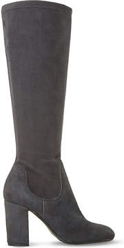 Dune Ladies Grey Classic Under The Knee Suede Stretch Boots