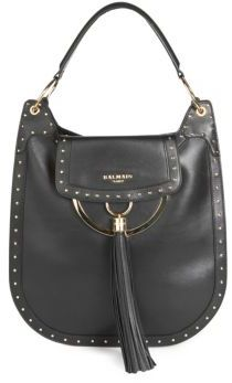 Balmain Domaine 33 Glovetanned Leather Hobo Bag