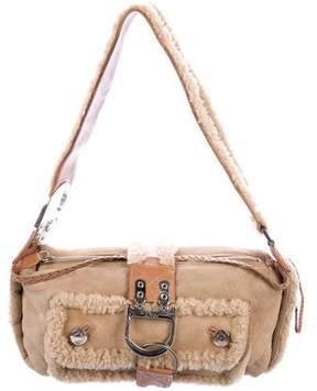 Christian Dior Suede & Shearling Shoulder Bag