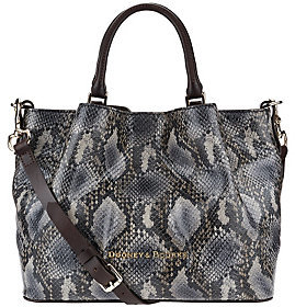 Dooney & Bourke As Is City Python Embossed Medium Leather Barlow Satchel - ONE COLOR - STYLE
