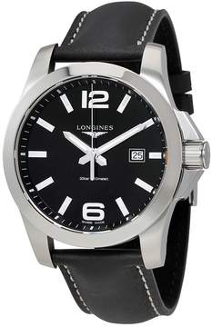 Longines Conquest Black Dial Black Leather Men's Watch