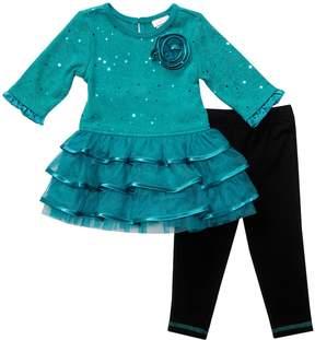 Youngland Baby Girl Tiered Ruffle Sweater Dress & Leggings Set