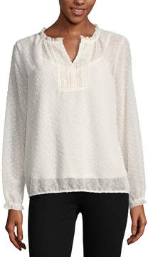 Liz Claiborne Long Sleeve Ruffle Neck Clip Dot Peasant Top