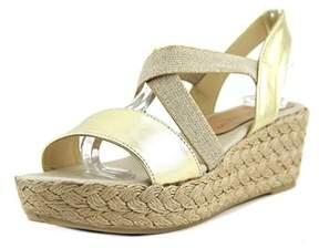 Patricia Green Erica Women Open Toe Canvas Gold Wedge Sandal.