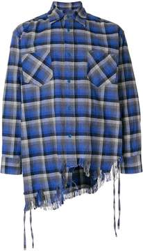 Facetasm distressed asymmetric plaid shirt