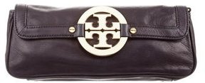 Tory Burch Smooth Leather Clutch - BROWN - STYLE