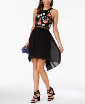 BCX Juniors' Embroidered Chiffon High-Low Dress