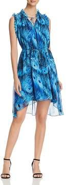 Elie Tahari Balere Feather-Print Silk Dress