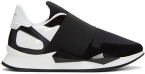 Givenchy Black and White Runner Elastic Sneakers