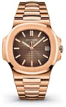 Patek Philippe Nautilus Brown Dial 18k Rose Gold Automatic Mens Watch