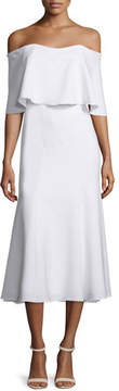 Camilla And Marc Off-The-Shoulder Midi Cocktail Dress, Warm Creme
