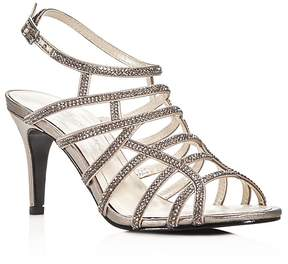 Caparros Harmonica Embellished Metallic Caged High Heel Sandals