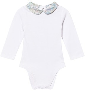 Cyrillus White Long Sleeve Body with Floral Collar