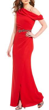 David Meister Off the Shoulder Beaded Gown