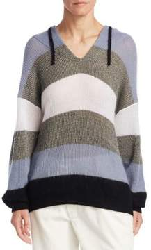 Brunello Cucinelli Mohair-Wool Striped Hoodie