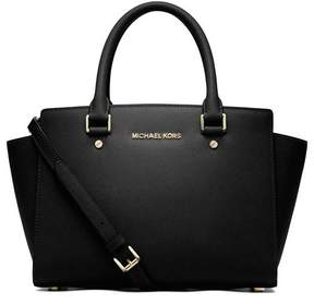 MICHAEL Michael Kors Selma Medium Satchel - BLACK / GOLD - STYLE