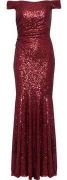 Badgley Mischka Off-The-Shoulder Ruched Sequined Mesh Gown